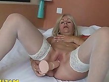 amateur blonde fingering hot juicy orgasm solo stocking