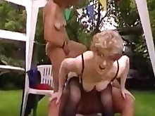 blonde fuck granny horny lingerie mature outdoor threesome