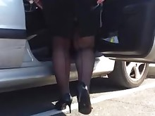 ass feet foot-fetish high-heels mature outdoor public